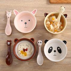 Kawaii Cartoon Ceramic Dining Bowl Spoon SP179164