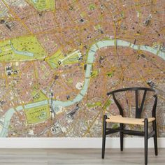 london-vintage-road-map-square-1-wall-murals