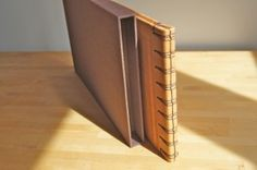 crochet stab binding on leather book