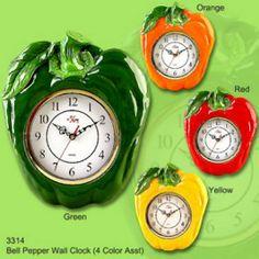 Home Decor Gift Bell Pepper Fiesta CLOCK, Wall Decor, Kitchen Wall