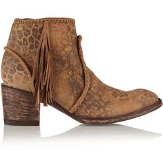 Mexicana Adela leopard-print washed-suede ankle boots ($294) ❤ liked on Polyvore featuring shoes, boots, ankle booties, brown, brown suede booties, brown suede ankle booties, ankle boots, leopard print booties and suede bootie