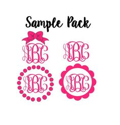 Sample Pack of FOUR 3 Monogram Decals One by CustomCreationsByCP