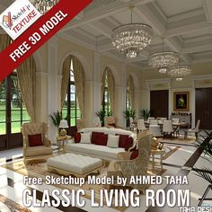 Awesome FREE SKETCHUP MODEL classic living room shared  by Engineer Ahmed Taha in 3d model gallery ... read more http://www.sketchuptextureclub.com/3d-models/living-room/classic-living-room-34