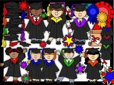 $5.00 Clip Art~ Rainbow Graduation Kids