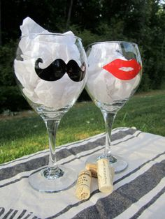 These fun wine glasses would be great for parties or for a bride and groom with a great sense of humor at the engagement party, rehearsal dinner or the reception! Bridal Gifts, Wedding Gifts, Our Wedding, Dream Wedding, Wedding Rehearsal, Rehearsal Dinners, Fun Wine Glasses, Cute Wedding Ideas, Team Bride