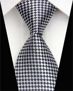 Man Formal Business Silk Necktie Jacquard Woven Men Suit Ties Geometric Dots Pattern Skinny Slim Narrow Wedding Tie for Mens Coachella Men, Great Mens Fashion, Fall Fashion, Style Fashion, Silver Tie, Mens Silk Ties, Modern Gentleman, Men Formal, Tie Styles