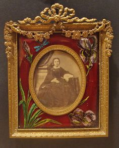 19th Century French Gilt Bronze Ormolu Picture Frame Foil Enamel