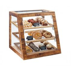 Cal Mil 3432-99 21x21.5x21.5 3 Tier Madera Slanted Display Case