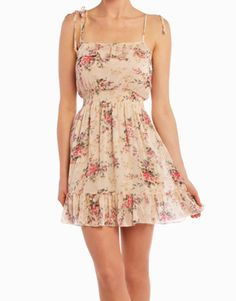 Feeling Girly Dress in Tan with lightly colored print!