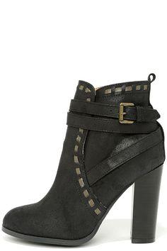 Line Strive Black Suede High Heel Booties at Lulus.com!