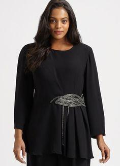 Lafayette 148 Plus Size Embellished Silk Top