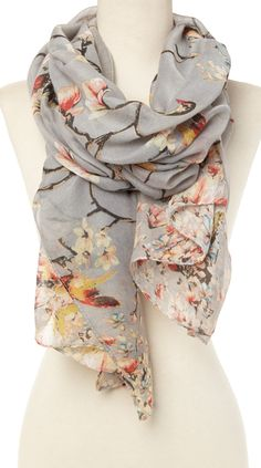 Grey floral scarf with beautiful bird Cute Scarfs, Poncho, Floral Scarf, Shawls And Wraps, Scarf Styles, What To Wear, Style Me, Fashion Accessories, At Least