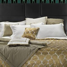 Image of Roberto Cavalli Silver and Gold Quilted Bedspread