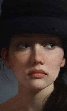 "Hat II"" - David Gray (b. oil on canvas {contemporary figurative realism art beautiful female head young woman face portrait cropped painting L'art Du Portrait, Pencil Portrait, Portrait Ideas, Painting People, Figure Painting, Painting Canvas, David Gray, Female Art, Female Head"