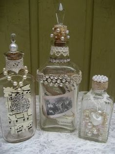 Who would have guessed these old medicine bottles would become such treasures down the road? The fever has caught on and now it's ha. Altered Bottles, Antique Bottles, Vintage Bottles, Bottles And Jars, Glass Bottles, Apothecary Bottles, Painted Bottles, Diy Bottle, Wine Bottle Crafts
