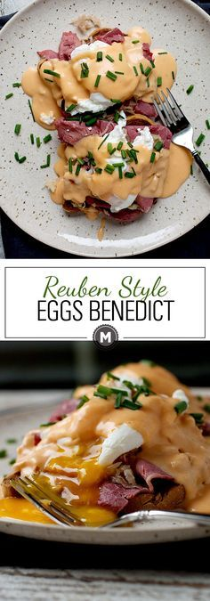 Reuben Eggs Benedict: Easy St. Patrick's Day brunch with rye bread, corned beef, sauerkraut, a quick Thousand Island Hollandaise sauce and perfectly poached eggs. So good and a great starter eggs benedict. Easy to make! | macheesmo.com