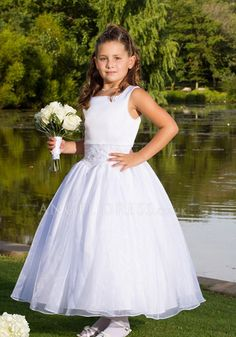 Adorable Tulle & Satin Natural Waist Ball Gown Scoop Ankle Length Flower Girl Dress