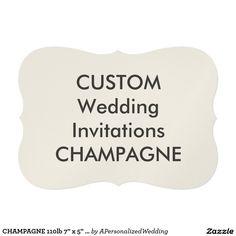 "CHAMPAGNE 110lb 7"" x 5"" Bracket Wedding Invitation"