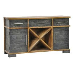 Mango wood sideboard, 3 drawers, 2 cabinets, and a center compartment perfect for wine storage.
