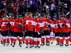 The Canadian team celebrates on the ice after beating the USA in the Semifinal match between the USA and Canada Olympic Games, Sochi, Russia,.