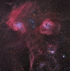 Deep telescopic view toward Auriga the Charioteer high in the winter sky. Of note, this view is opposite the galactic center in Sagittarius. Upper left: IC 405 - Flaming Star Nebula; Upper right: IC 410 and embedded star cluster NGC 1893; Lower right: IC 417 & NGC 1931 - Spider and the Fly; Bottom center: Star cluster NGC1907