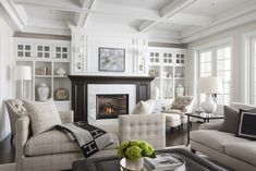 Fireplace Built Ins - Design photos, ideas and inspiration. Amazing gallery of interior design and decorating ideas of Fireplace Built Ins in living rooms, dens/libraries/offices, dining rooms by elite interior designers - Page 1 Living Room White, My Living Room, Home And Living, Living Room Decor, Living Spaces, Fireplace Built Ins, Fireplace Mantle, Black Fireplace, Fireplace Design