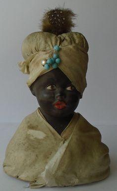 Gebruder Heubach black pin cushion doll / bust