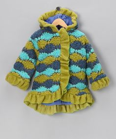 Take a look at this Green & Blue Squiggle Stripe Anne-Marie Coat - Toddler & Girls by Corky & Company on #zulily today!