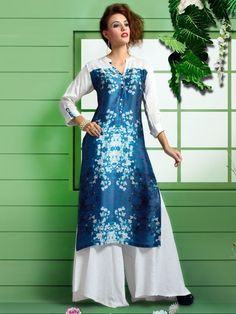 Printed blue cotton satin festive wear womens kurti - G3-WKU2843 | G3fashion.com