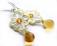 Tatted lace earrings bright yellow tatting honey  by LaceLadyOla