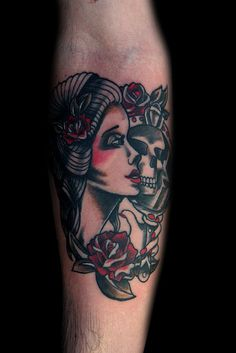 mirror girl traditional tattoo by Deanna Wardin @ Tattoo Boogaloo, via Flickr