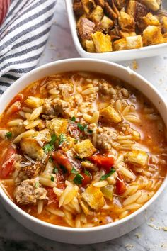 Italian Sausage Orzo Soup for Instant Pot or Stove Italian soup in 30 minutes for Instant Pot or stove! Comfort food with pork sausage, everyday vegetables, whole grain orzo, and chicken broth Italian Sausage Soup, Italian Sausage Recipes, Italian Cooking, Easy Soup Recipes, Cooking Recipes, Cooking Okra, Oven Recipes, Chili Recipes, Easy Cooking