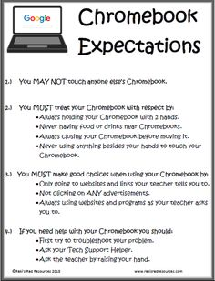 And do NOT open your desk when your Chromebook is on top of it. 🙄 Set expectations for chromebooks in order to help your students be successful with one to one devices. Chromebooks in the classroom is made much easier with this free expectation poster. 5th Grade Classroom, Middle School Classroom, Flipped Classroom, 21st Century Classroom, Classroom Teacher, Future Classroom, Teaching Technology, Educational Technology, Instructional Technology
