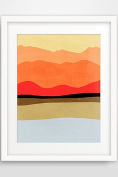 Abstract Landscape Art Print, Mid Century Modern Art, Mountains, Contemporary Wall Art - by evesand