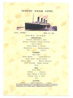 White Star Line RMS Titanic third class breakfast menu.April Gruel for dinner yummy. Rms Titanic, Titanic Museum, Titanic History, Titanic Artifacts, Vintage Menu, Travel Posters, Olympics, Belfast, Ocean