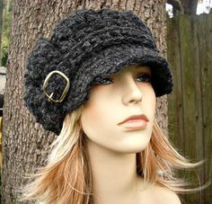 Hand Crocheted Hat Womens Hat - The Monarch Ribbed Crochet Newsboy Hat in Charcoal Grey Chunky Crochet Hat, Crochet Newsboy Hat, Ribbed Crochet, Hand Crochet, Knitted Hats, Crochet Hats, Free Crochet, Winter Hats For Women, Hats For Men