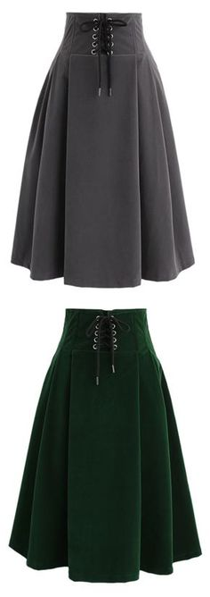 Lace Up For Your Love High Waist Velvet Skirt in Green/Grey