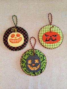 Fun Pumpkin Ornaments ~ LOVE THE DESIGNS & STITCHES !!!!! ~ canvases by Kirk & Bradley
