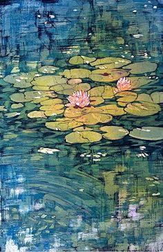#Water lilies   by #Terri Haugen -Fine Art  #Batik Original and prints for sale by artist terrih@terrihaugen.com