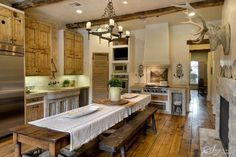 A long harvest table is a must for the rustic farmhouse kitchen. Description from eyefordesignlfd.blogspot.fr. I searched for this on bing.com/images