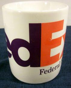 Federal Express Coffee Tea Fed EX Soup Mug Mail Logo Purple Orange
