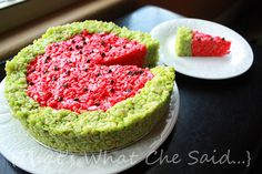Watermelon Rice Krispie Treats.  DONE.  ***Careful with food colouring...mine looked perfect but could taste the colouring b/c I had to use so much!***