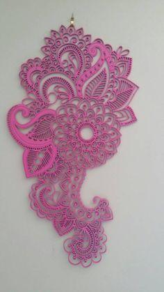 Wooden Pink Mandala wall hanging artwork by NovaCakeToppers