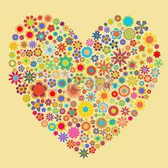 motif coeur: Vector illustration de coeur modèle composé de fleurs de formes. Bon pour les cartes de la Saint-Valentin.