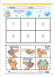 Recortar y ordenar lavarse las manos correctamente - Actiludis Preschool Worksheets, Preschool Learning, Kindergarten Activities, Learning Activities, Preschool Activities, Teaching Kids, Nutrition Activities, Tutoring Flyer, Hand Washing Poster