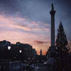 A festive view of London at dawn - from Trafalgar Square to Big Ben