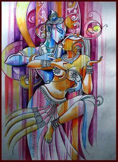 Radhe'Krsnaji 💓🌸 ♡ ॐ Krishna Painting, Krishna Art, Radha Krishna Sketch, Lord Krishna, Shiva, India Painting, Mural Painting, Indian Folk Art, Indian Artist