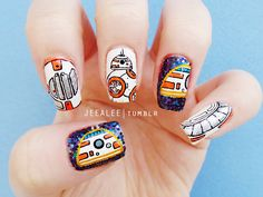 BB-8 Nails | Star Wars: The Force Awakens by jeealee on DeviantArt