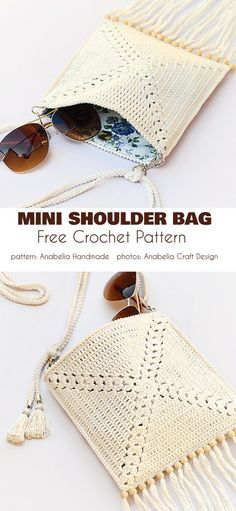 Summer Mini Shoulder Bag Free Crochet Pattern This the season for summer accessories, and the summer crochet shoulder bag is a great example of of how great and 'designer' your homemade and Débardeurs Au Crochet, Crochet Bolero, Mode Crochet, Crochet Tote, Crochet Handbags, Crochet Purses, Learn To Crochet, Crochet Summer, Free Crochet Bag