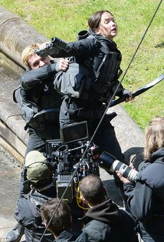 Terse moment: Jennifer looks exhausted in this punishing scene from the new Hunger Games m...